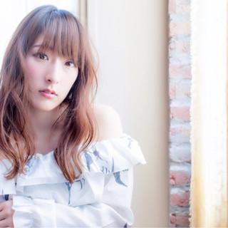 女子会 セミロング リラックス ヘアアレンジ ヘアスタイルや髪型の写真・画像