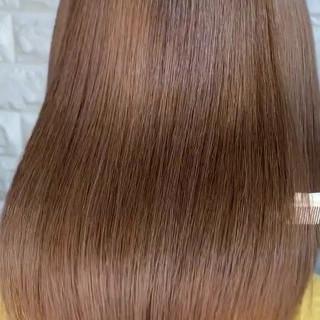 縮毛矯正 エレガント ミルクティーベージュ ボブ ヘアスタイルや髪型の写真・画像