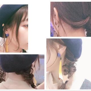 ヘアアレンジ ベレー帽 ガーリー ミディアム ヘアスタイルや髪型の写真・画像