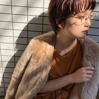 アプリコットオレンジ ナチュラル 横顔美人 ショートボブ ヘアスタイルや髪型の写真・画像