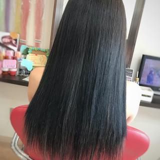 抜け感 ロング エクステ 黒髪 ヘアスタイルや髪型の写真・画像