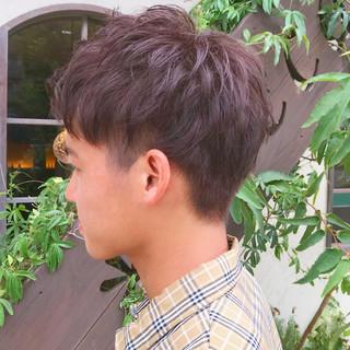 ラベンダーアッシュ ナチュラル メンズヘア 2ブロック ヘアスタイルや髪型の写真・画像