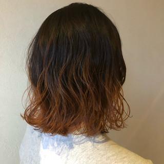ストリート オレンジブラウン オレンジ オレンジカラー ヘアスタイルや髪型の写真・画像