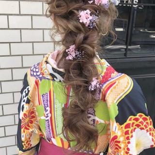 ロング 編みおろし 卒業式 エレガント ヘアスタイルや髪型の写真・画像