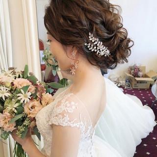 セミロング フェミニン 結婚式ヘアアレンジ 大人かわいい ヘアスタイルや髪型の写真・画像