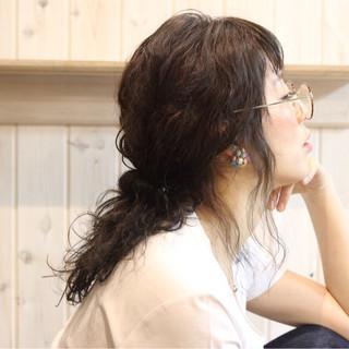 ミディアム 黒髪 ナチュラル ヘアアレンジ ヘアスタイルや髪型の写真・画像