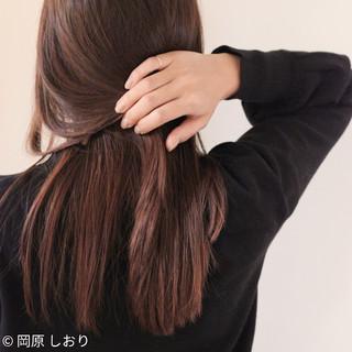 外国人風カラー セミロング ピンクブラウン 透明感 ヘアスタイルや髪型の写真・画像