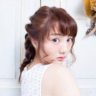 モテ髪 編み込み 三つ編み ショート ヘアスタイルや髪型の写真・画像