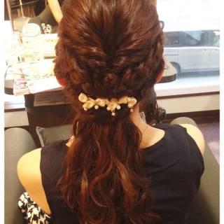 パーティ 波ウェーブ ロング ヘアアレンジ ヘアスタイルや髪型の写真・画像