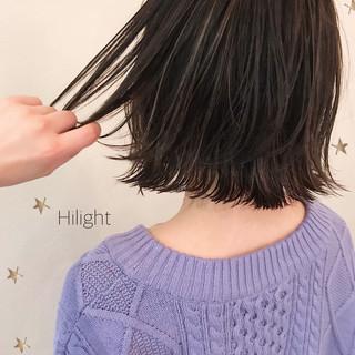 ミディアム 切りっぱなしボブ ストリート 切りっぱなし ヘアスタイルや髪型の写真・画像