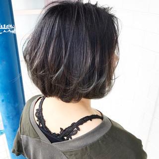 インナーカラー ナチュラル ボブ ベリーショート ヘアスタイルや髪型の写真・画像