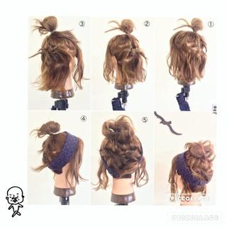 お団子 ねじり ボブ 編み込み ヘアスタイルや髪型の写真・画像