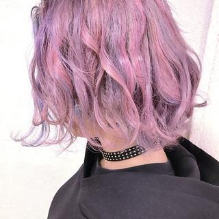 ニュアンス 外ハネ ストリート ピンク ヘアスタイルや髪型の写真・画像