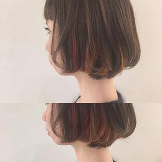 ハイライト 外国人風 ニュアンス ボブ ヘアスタイルや髪型の写真・画像