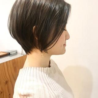 デート 小顔ショート ショート ショートボブ ヘアスタイルや髪型の写真・画像