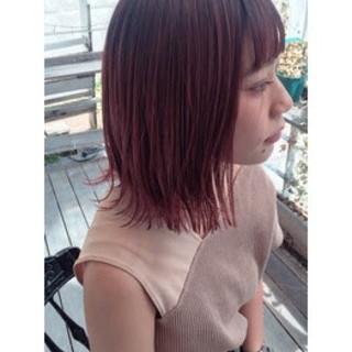 ミディアム 前髪 暖色 ダブルカラー ヘアスタイルや髪型の写真・画像