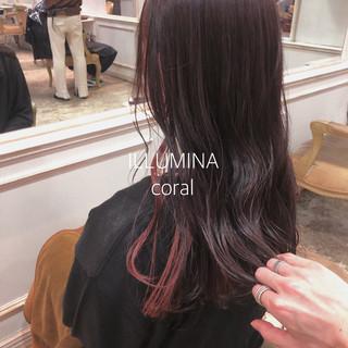 ピンク ポイントカラー ロング イルミナカラー ヘアスタイルや髪型の写真・画像