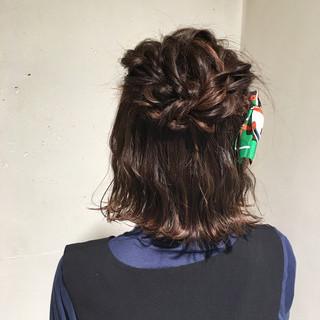 ガーリー 結婚式 ボブ 編み込み ヘアスタイルや髪型の写真・画像 ヘアスタイルや髪型の写真・画像