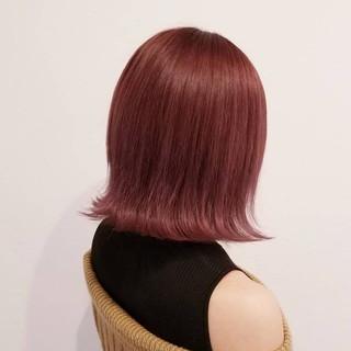 ハイトーン デート フェミニン ピンク ヘアスタイルや髪型の写真・画像