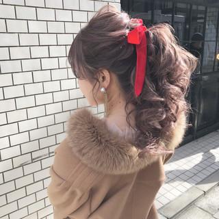 エレガント デート ロング ポニーテール ヘアスタイルや髪型の写真・画像