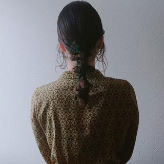 ナチュラル 簡単ヘアアレンジ ローポニーテール おしゃれ ヘアスタイルや髪型の写真・画像