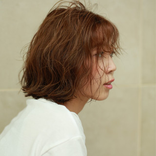 ゆるふわ ガーリー ボブ 波ウェーブ ヘアスタイルや髪型の写真・画像
