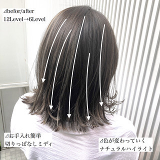 前髪 ストレート ハイライト ナチュラル ヘアスタイルや髪型の写真・画像