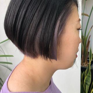 ピンク パープル ボブ インナーカラー ヘアスタイルや髪型の写真・画像