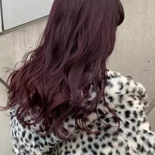 ストリート ロング アプリコットオレンジ レッドブラウン ヘアスタイルや髪型の写真・画像