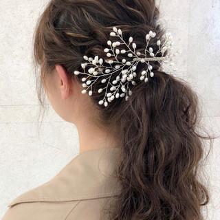 ハイライト デート ゆるふわ 結婚式 ヘアスタイルや髪型の写真・画像