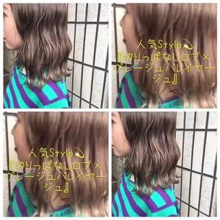 ハイライト ボブ バレイヤージュ ナチュラル ヘアスタイルや髪型の写真・画像