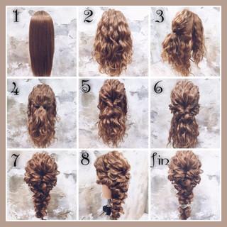 編み込み ヘアアレンジ 波ウェーブ 簡単ヘアアレンジ ヘアスタイルや髪型の写真・画像 ヘアスタイルや髪型の写真・画像