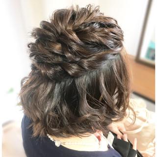 パーティ 上品 結婚式 ハーフアップ ヘアスタイルや髪型の写真・画像