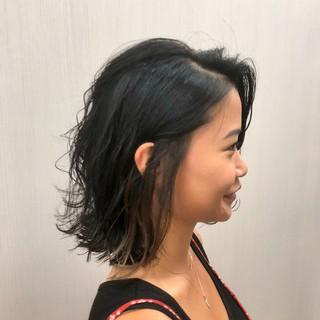 ロブ インナーカラー ガーリー ボブ ヘアスタイルや髪型の写真・画像