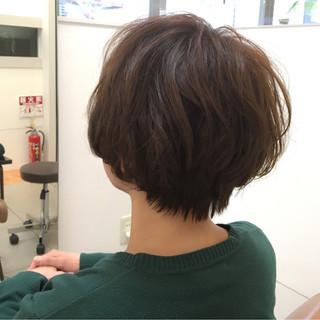大人かわいい ショートボブ ナチュラル ショート ヘアスタイルや髪型の写真・画像
