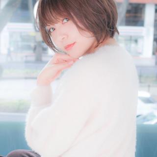 簡単ヘアアレンジ ショート ナチュラル 小顔ショート ヘアスタイルや髪型の写真・画像 ヘアスタイルや髪型の写真・画像