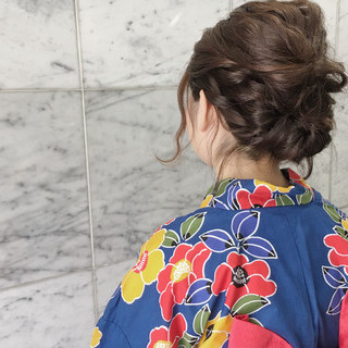 ヘアアレンジ 夏 和装 ナチュラル ヘアスタイルや髪型の写真・画像