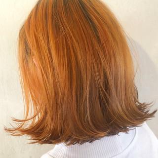 ボブ ブリーチ 春 オレンジ ヘアスタイルや髪型の写真・画像