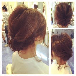 波ウェーブ 後れ毛 ヘアアレンジ くるりんぱ ヘアスタイルや髪型の写真・画像