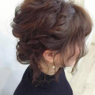 ショート ヘアアレンジ くるりんぱ 編み込み ヘアスタイルや髪型の写真・画像