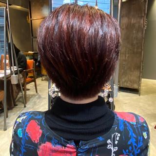 赤髪 ショート ブリーチなし ナチュラル ヘアスタイルや髪型の写真・画像