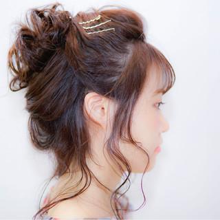 ヘアピン ショート くるりんぱ 夏 ヘアスタイルや髪型の写真・画像