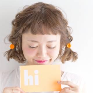 ショート ウェーブ オン眉 簡単ヘアアレンジ ヘアスタイルや髪型の写真・画像