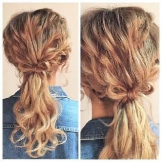 ルーズ ナチュラル 編み込み 簡単ヘアアレンジ ヘアスタイルや髪型の写真・画像