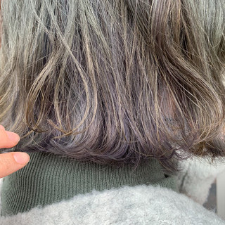冬 ボブ ママ ハイライト ヘアスタイルや髪型の写真・画像