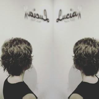 パーマ ショート ハイライト ガーリー ヘアスタイルや髪型の写真・画像