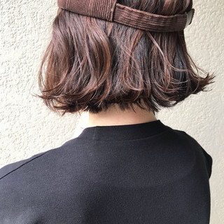 ストリート アウトドア ミニボブ 外ハネボブ ヘアスタイルや髪型の写真・画像