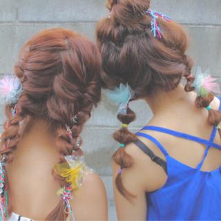 ヘアアレンジ ロング 三つ編み 夏 ヘアスタイルや髪型の写真・画像