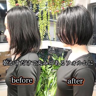 ナチュラル 縮毛矯正 ミニボブ ショート ヘアスタイルや髪型の写真・画像