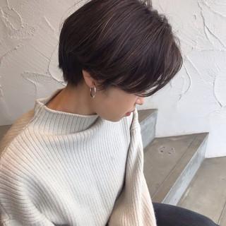 ワンカールパーマ ハンサムショート ショート ショートボブ ヘアスタイルや髪型の写真・画像